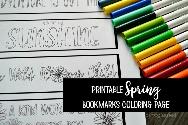 Printable Spring Bookmarks Coloring Page