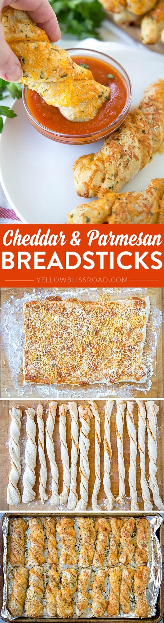 Cheddar & Parmesan Breadsticks - easy to make using premade pizza dough and sauce