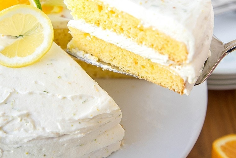 Citrus Cake with Whipped Cream Cream Cheese frosting