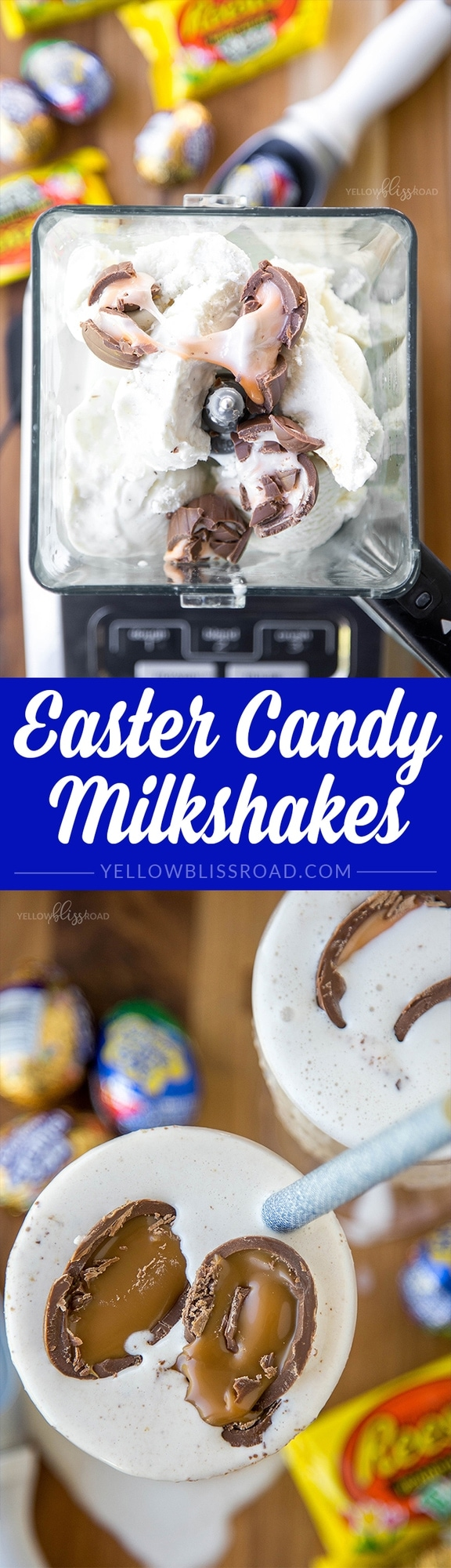 Easter Candy Milkshakes - a super easy and fun treat for Easter adn beyond, made with Hershey's candies like Cadbury Creme Eggs and Reese's Peanut Butter Eggs. (ad)