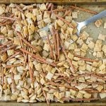 Chex mix on a sheet pan