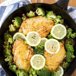A pan of chicken and broccoli