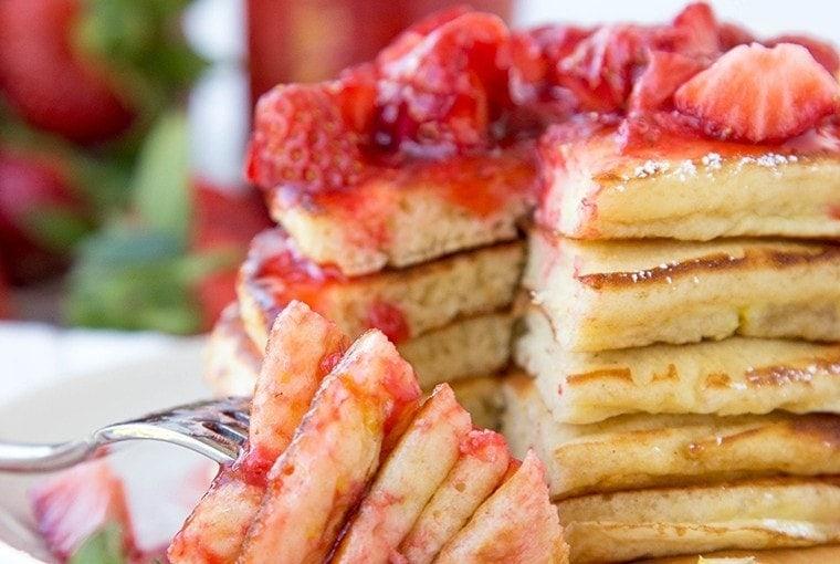 Lemon Pancakes with Fresh Strawberry Syrup