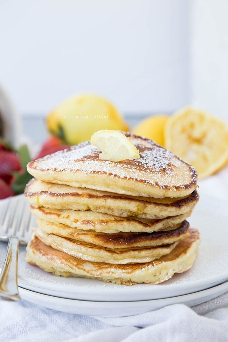 Lemon Pancakes with Fresh Homemade Strawberry Syrup - for brunch, breakfast or even dinner!