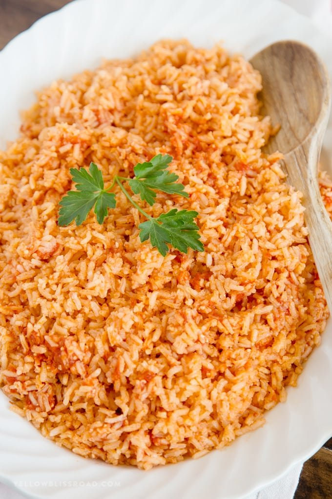 The best authentic mexican rice recipe mexican side dish authentic mexican rice on a platter forumfinder Image collections