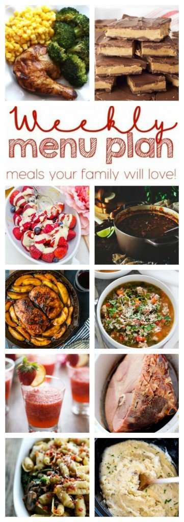 Weekly Meal Plan - 10 fabulous recipes including dinners, sides, desserts and drinks!