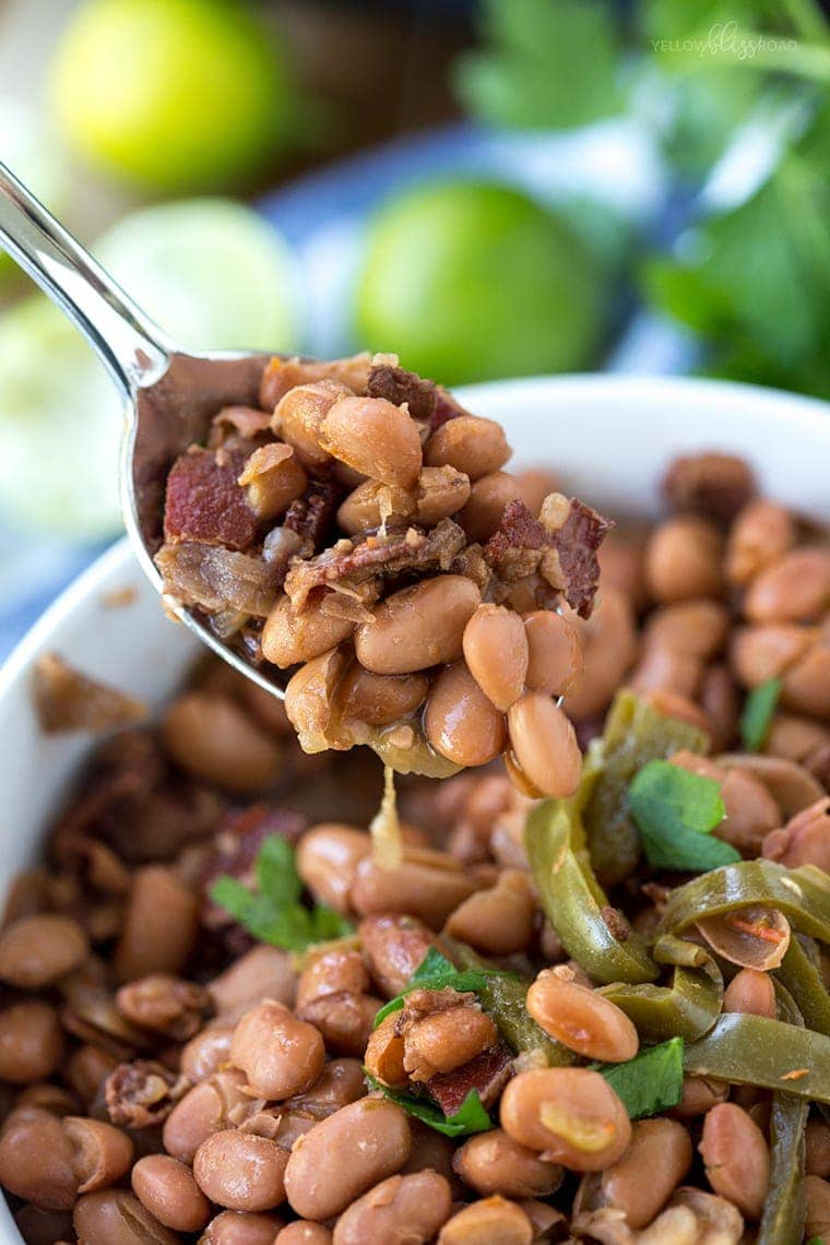 Slow Cooker Beans on a spoon