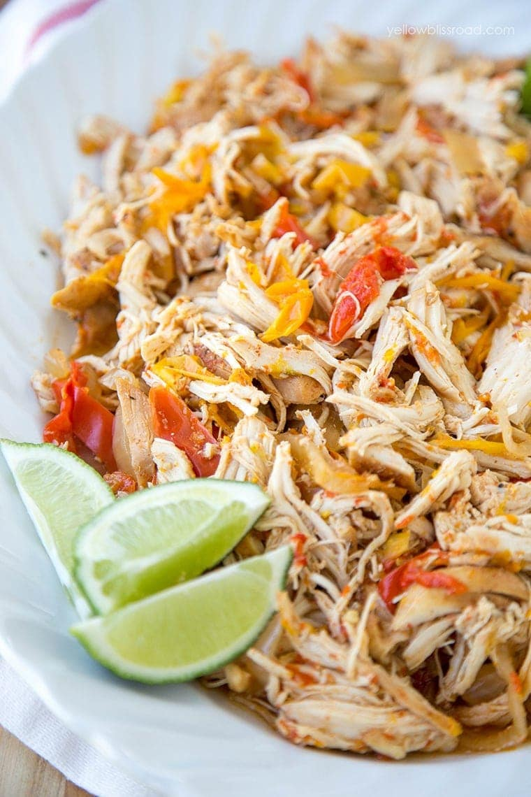 Slow Cooker Chicken Fajita Recipe - a delicious Mexican dinner recipe made easily in your Crockpot, with easy homemade Fajita seasoning!