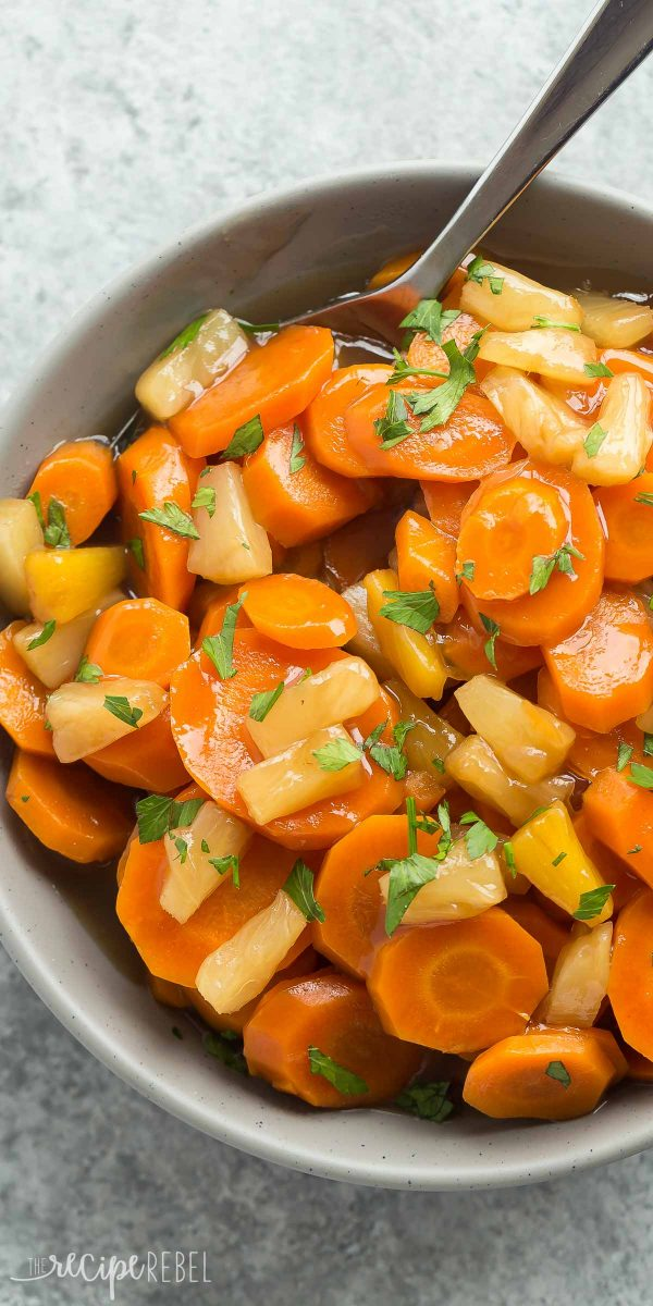 A bowl of cooked carrots
