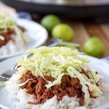 A plate of beef and rice