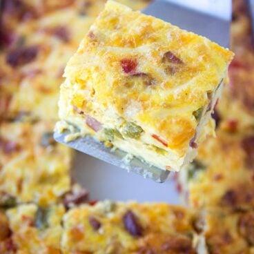 A slice of a breakfast casserole