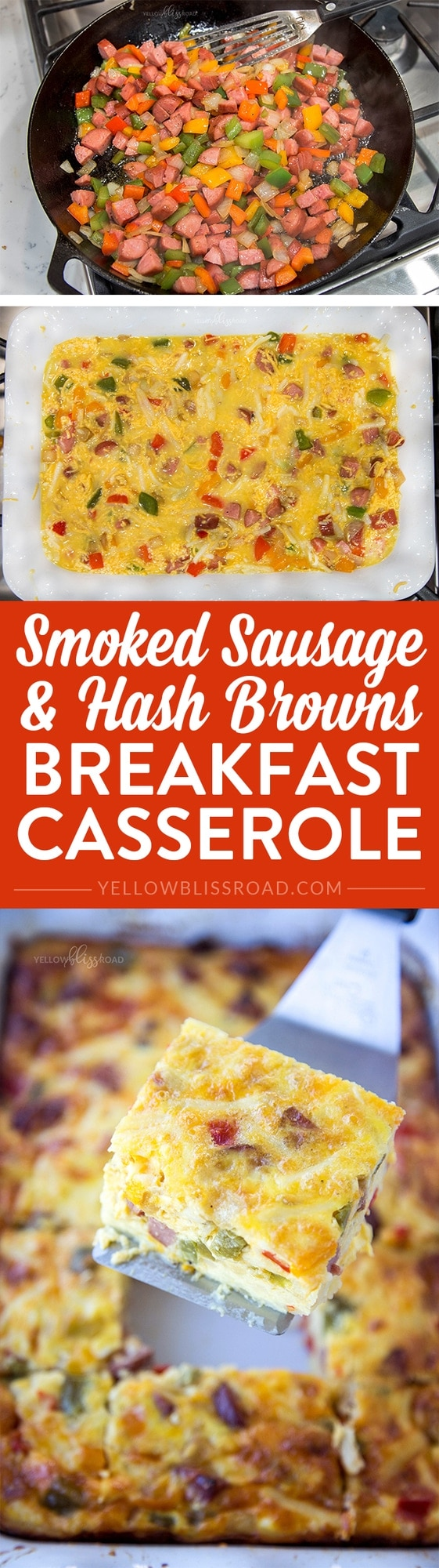Smoked Sausage & Hash Brown Breakfast Casserole - A hearty, cheesy and savory breakfast casserole that's perfect for brunch or anytime you need to feed a crowd