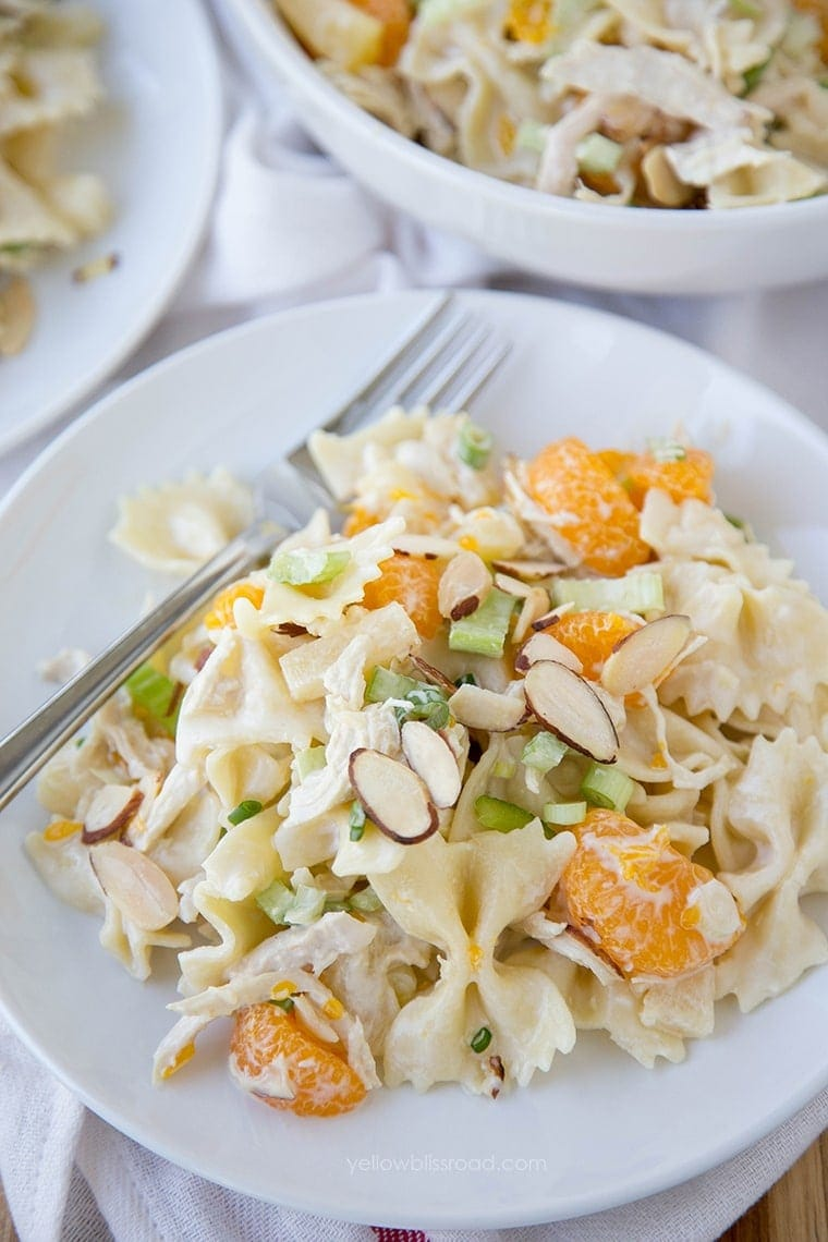 Tropical Chicken Pasta Salad with a creamy Greek Yogurt vinaigrette