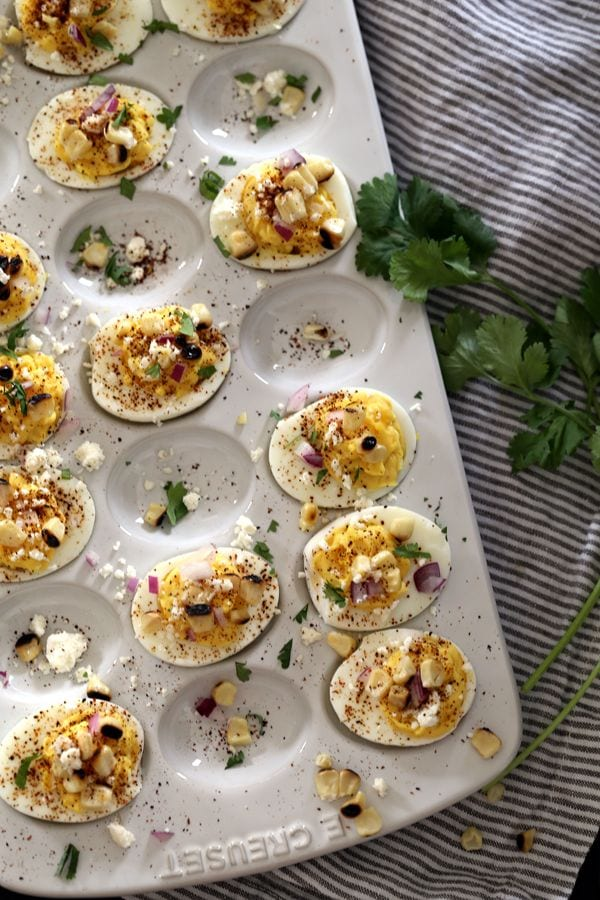 A plate filled with deviled eggs