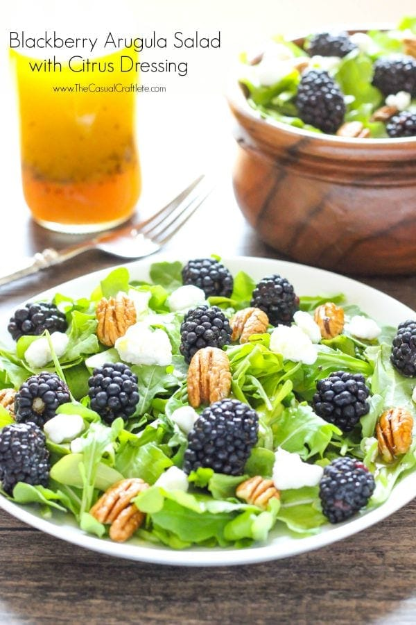 Blackberry-Arugula-Salad-with-Citrus-Dressing-the Casual Craftlete