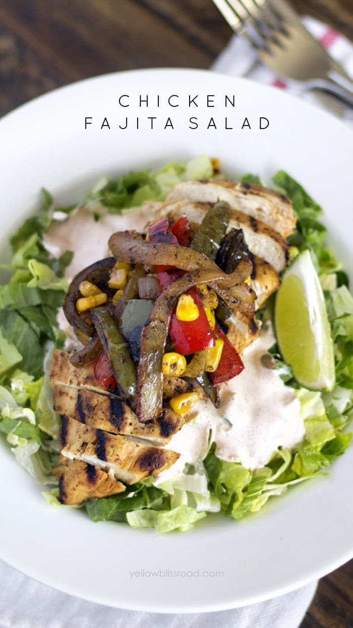Chicken-Fajita-Salad-with-Roasted-Vegetables-Yellow Bliss Road