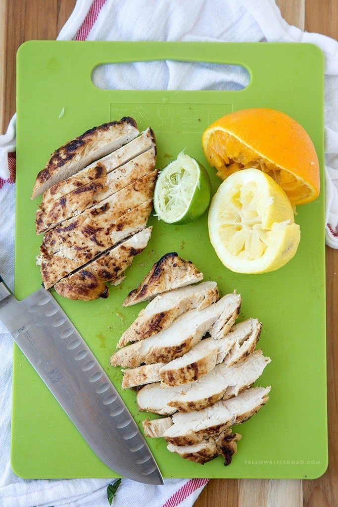 Grilled Citrus Chicken - Boneless, Skinless Chicken Breasts marinated in lemon, orange and lime with garlic