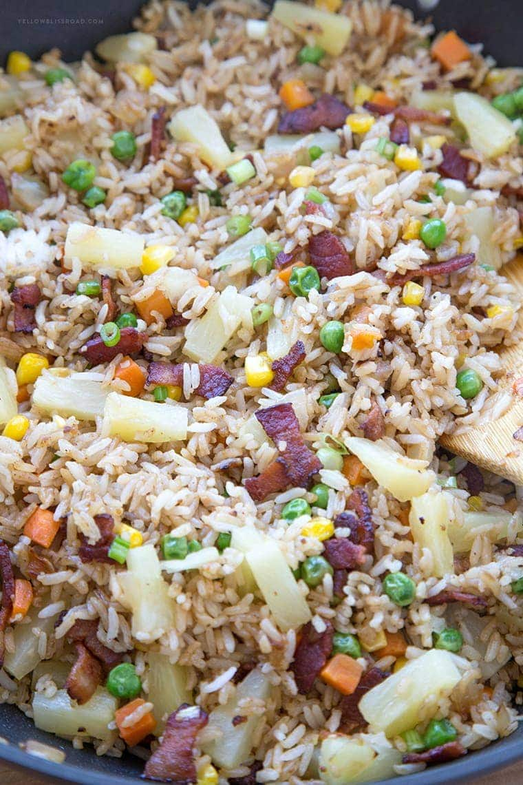 This Bacon & Pineapple Fried Rice is full of sweet pineapple and salty, crunchy bacon. It's ready in less than 15 minutes and makes a delicious side dish or entree any day of the week.