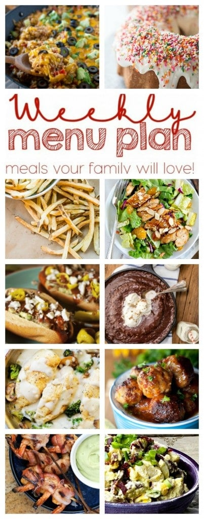 Weekly Meal Plan - A delicious weekly menu from 10 great bloggers, with dinners, sides and desserts!