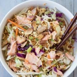 Crunchy Ramen Noodle Salad with Salmon