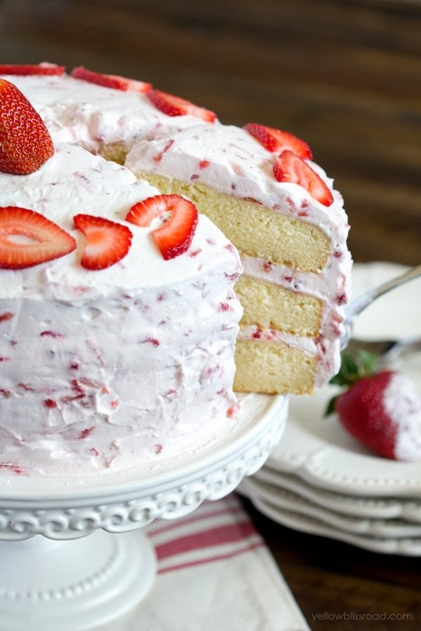 white wedding cake with strawberry filling recipe fresh strawberry cake recipe yellow bliss road 27425