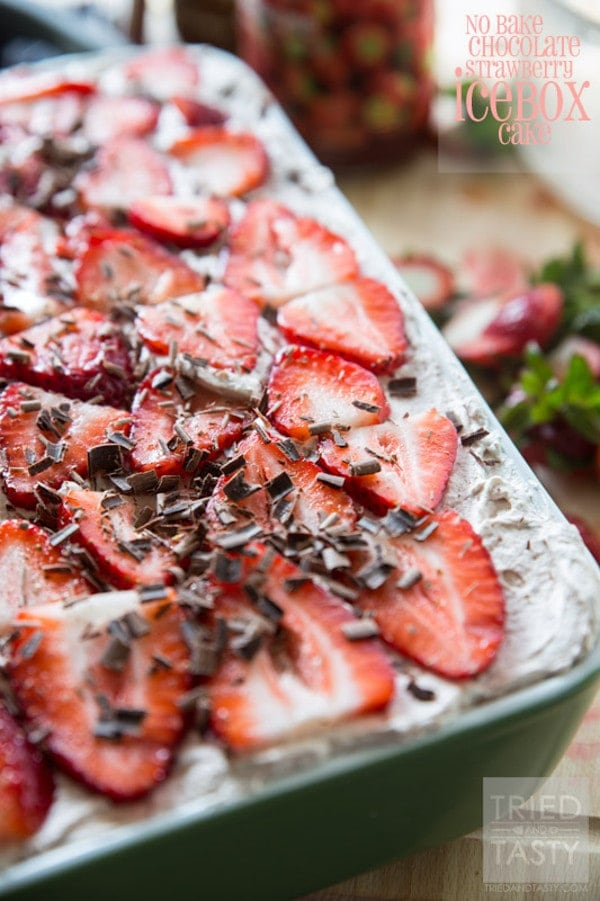 No Bake Chocolate Strawberry Icebox Cake
