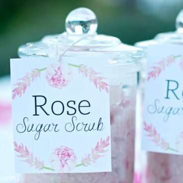 Make this delicious Rose Sugar Scrub Gift Idea with Free Printable!