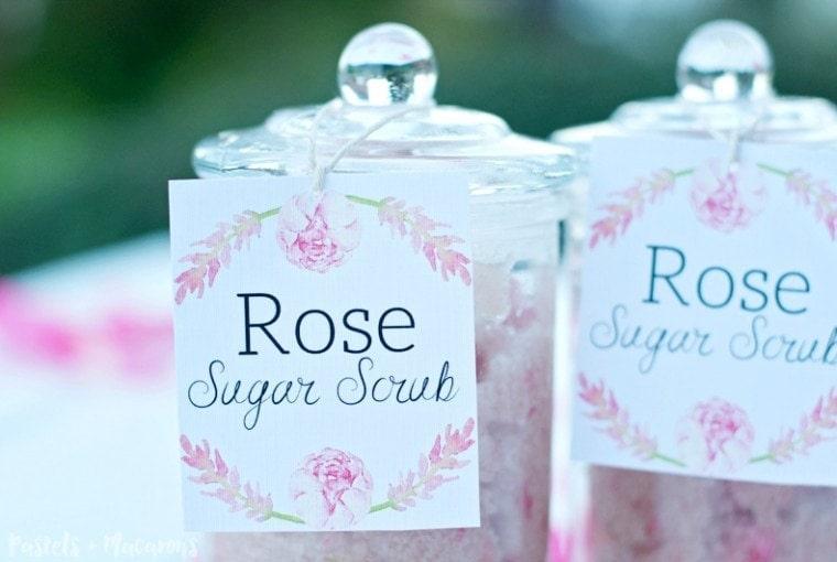 Rose Sugar Scrub Gift Idea with Free Printable