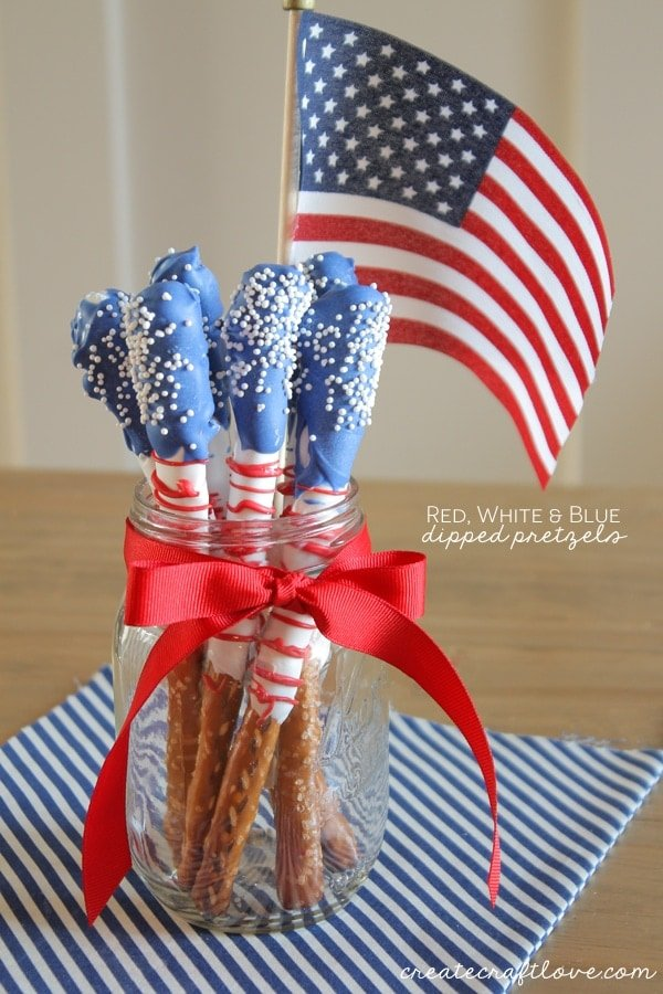 Red, White and Blue Chocolate Covered Pretzels