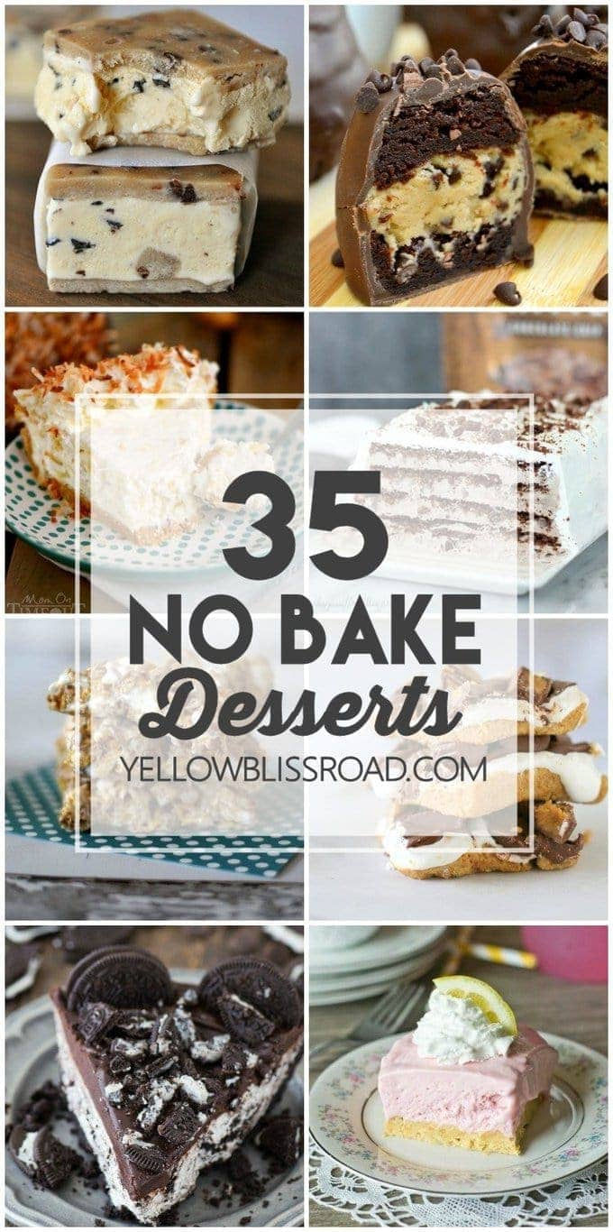 35 No Bake Desserts for those times you want something sweet and homemade but you don't want to turn the oven on. Delicious no bake pies, cakes, cheesecakes and more!