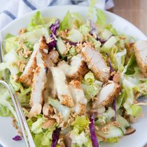 Baked Crispy Chicken Salad with Asian Style Honey Mustard Dressing