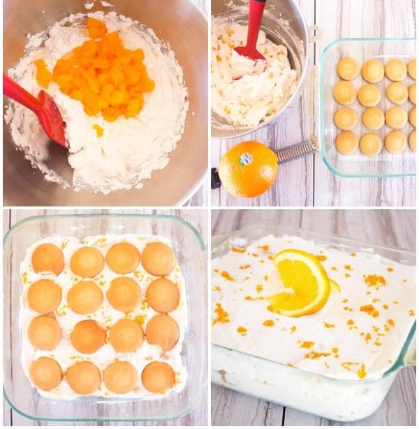 collage of orange icebox cake how to steps
