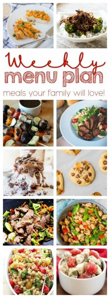 Easy Weekly Meal Plan from 1- great bloggers. Dinners, Side dishes and desserts!