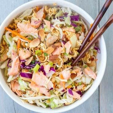 A bowl of ramen noodle salad
