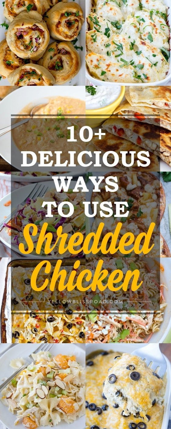 collage of images for shredded chicken recipes