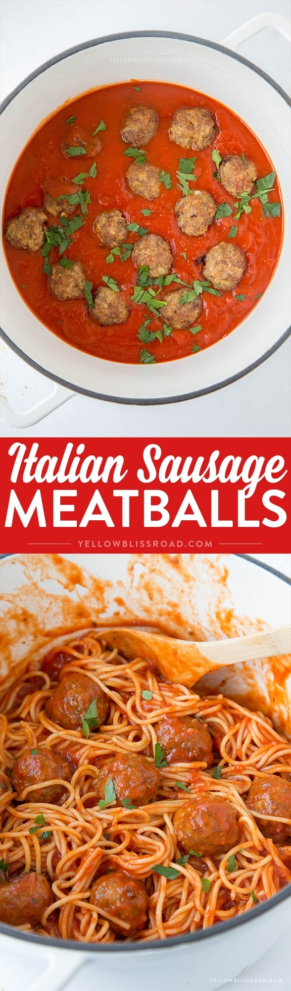 Baked Italian Sausage Meatballs - Just a few ingredients turn spaghetti night from boring to fabulous! Easy enough for weeknight dinners.