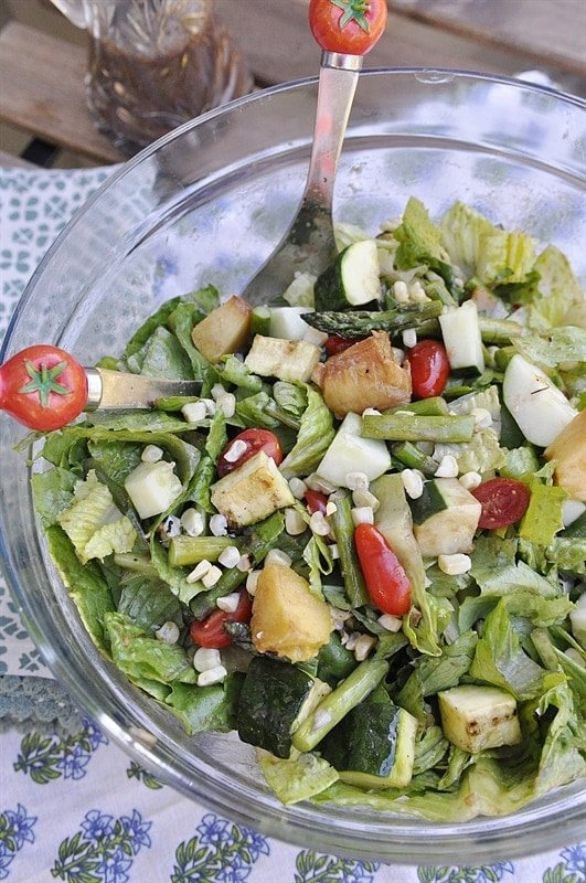 Grilled Vegetable and Peach Salad