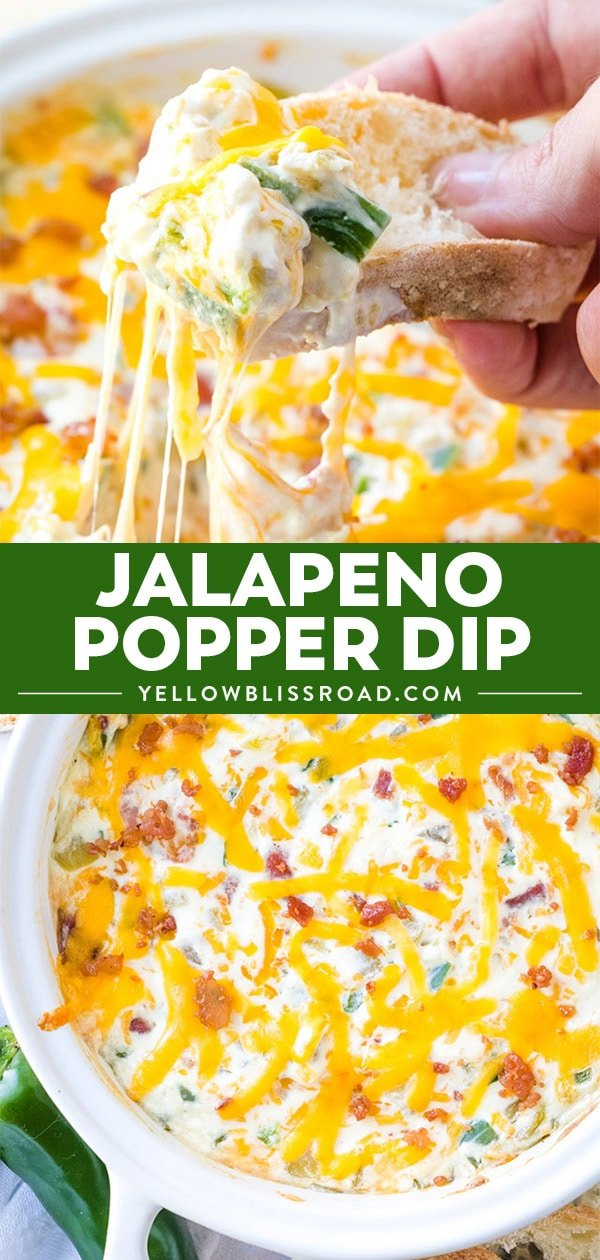 Jalapeno Popper Dip long collage of two images