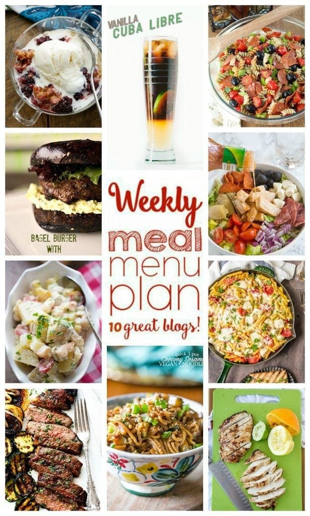 Weekly Meal Plan - 10 great bloggers bringing you a full week of recipes including dinner, sides dishes, and desserts!