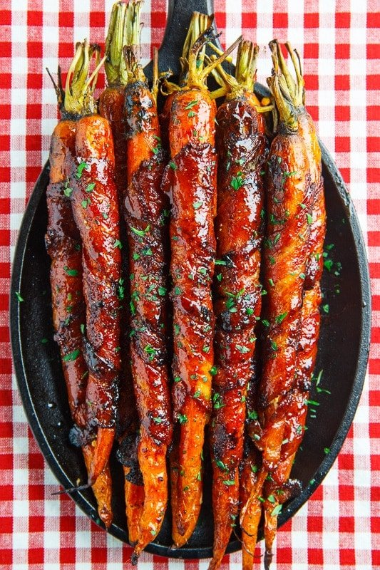 Maple Bacon Wrapped Roasted Carrots-closet cooking