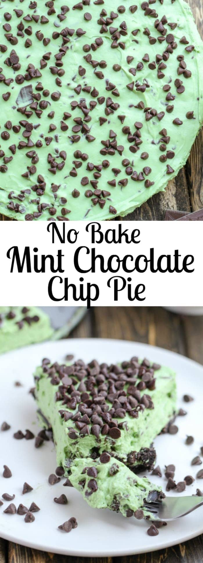 This No Bake Mint Chocolate Chip Pie is fast, easy, and filled with chocolate chips and mint candies. It's the perfect summer night treat!
