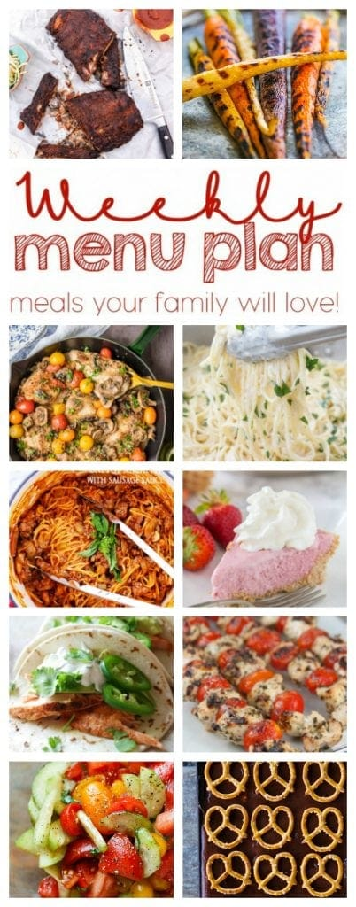Weekly Meal Plan - 10 recipes for top bloggers from dinners, to side dishes to desserts!