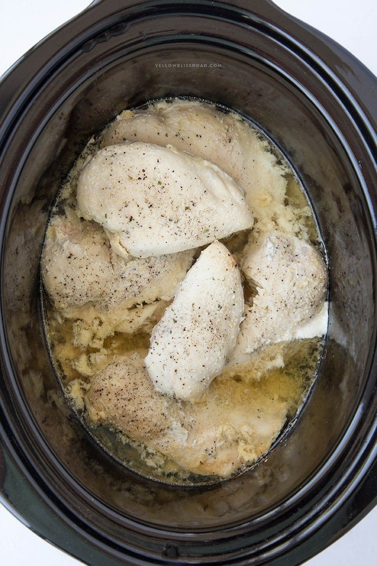 Cooked chicken breasts in the crockpot