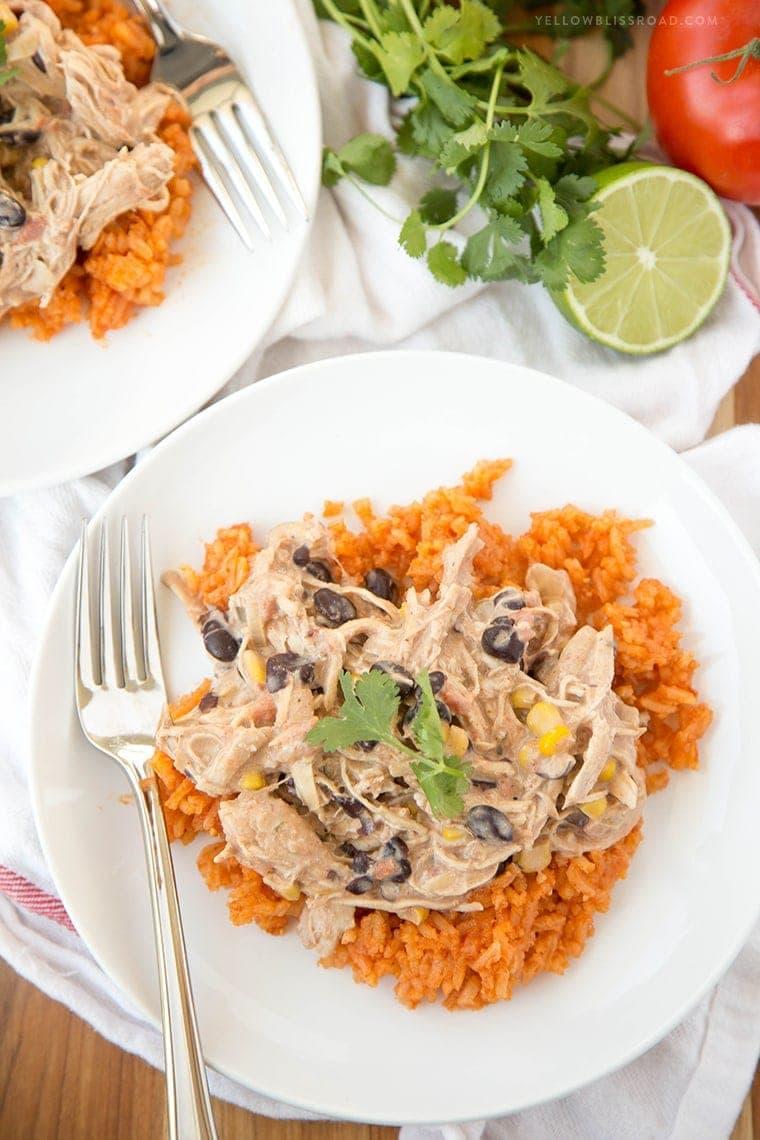 Slow Cooker Creamy Fiesta Chicken overhead image