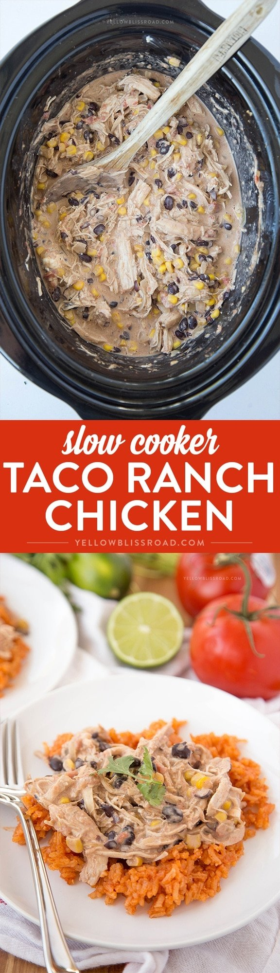 Slow Cooker Taco Ranch Chicken - A weeknight meal you don't have to turn your oven on for!
