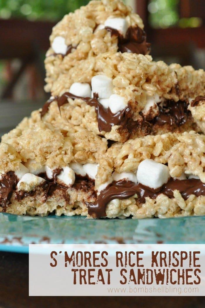 S'mores Rice Krispie Treat Sandwiches