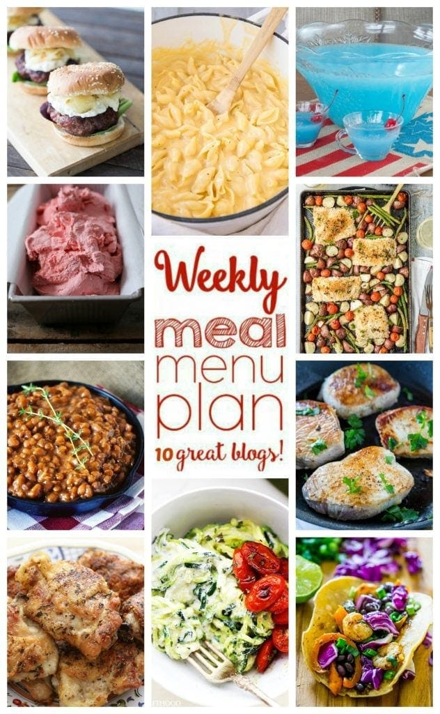 Weekly meal plan with dinners, sides and desserts
