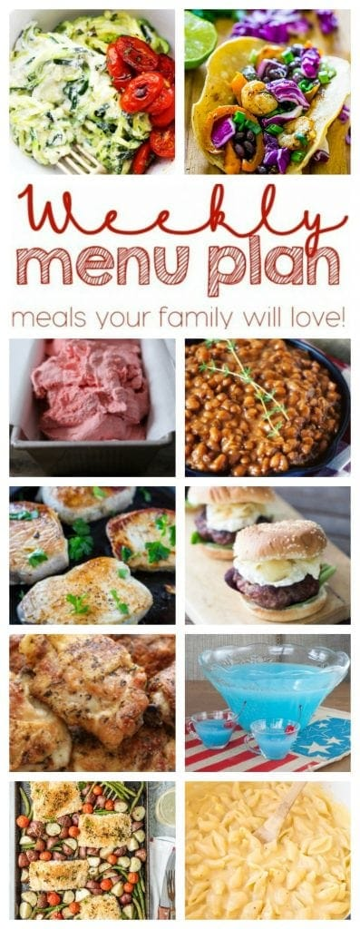 Weekly meal plan with dinners, sides and desserts!