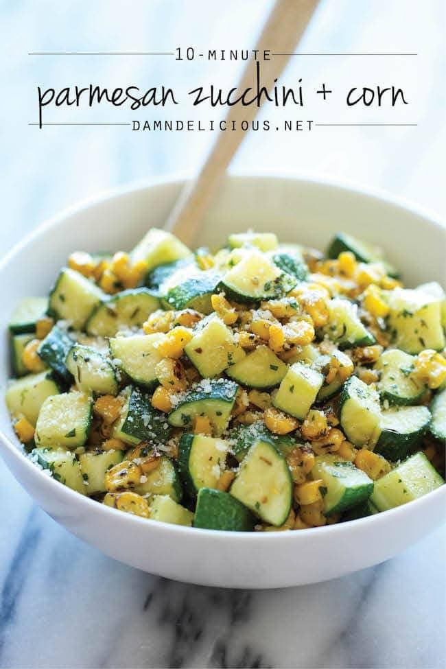 parmesan zucchini and corn - damn delicious