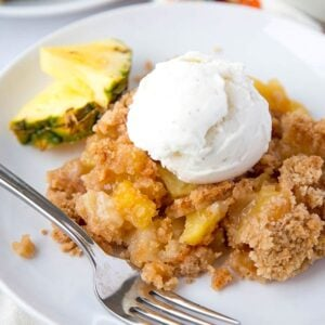 A plate of Pineapple Cobbler with ice cream
